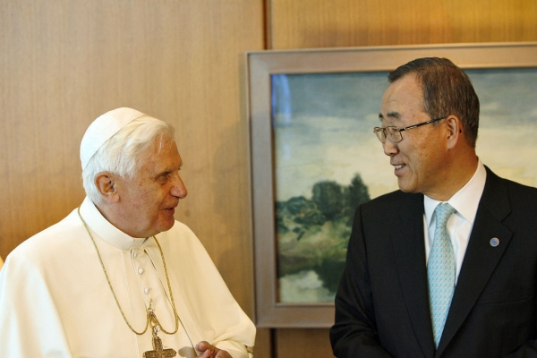 Pope Benedict XVI with UN Secretary General Ban Ki-moon