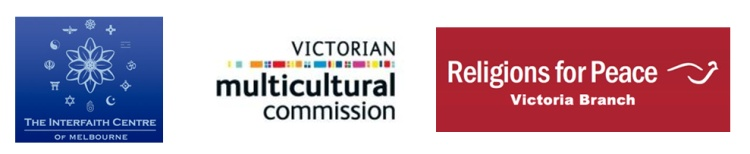 Logos of Interfaith Centre of Melbourne, Victorian Multicultural Commission, Religions for Peace Australia, Victoria Branch