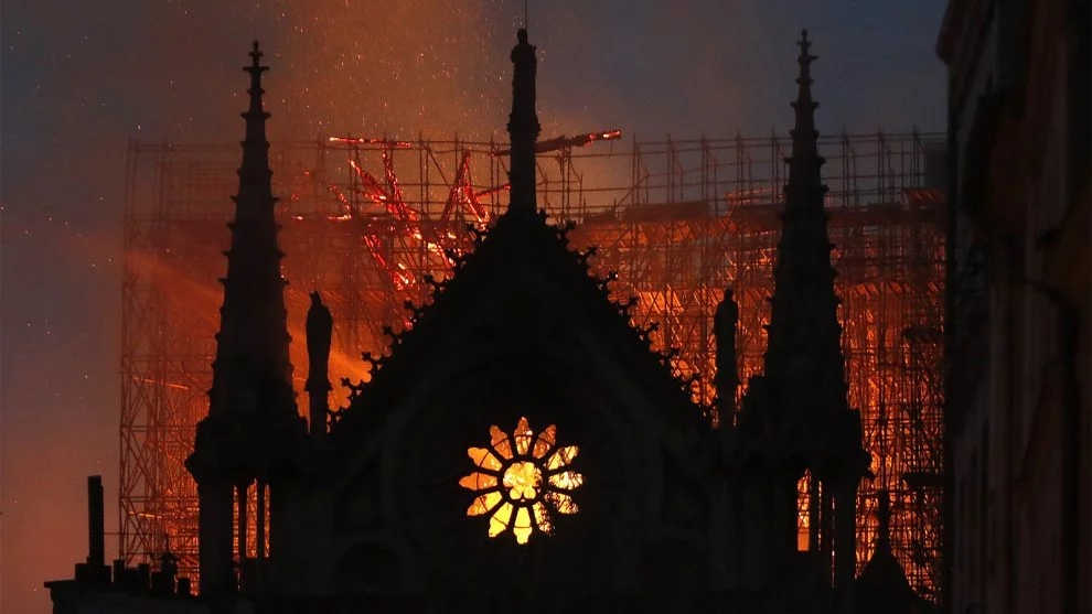 Notre Dame Cathedral burns on the night of 15 April 2019