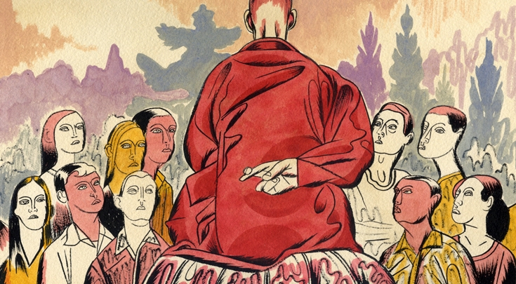sketch of buddhist monk crossing fingers