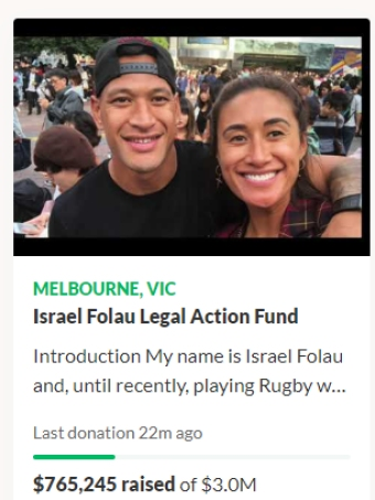 A screengrab of Israel Folau's GoFundMe campaign