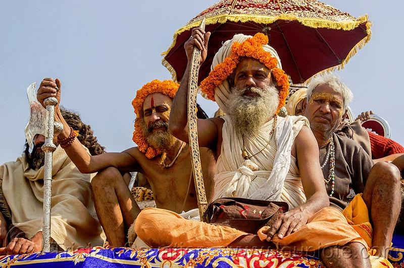 Hindu Guru with ritual sword - Kumbh Mela India.