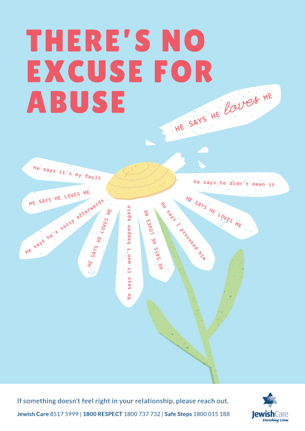 Family Violence Poster - there's no excuse for abuse