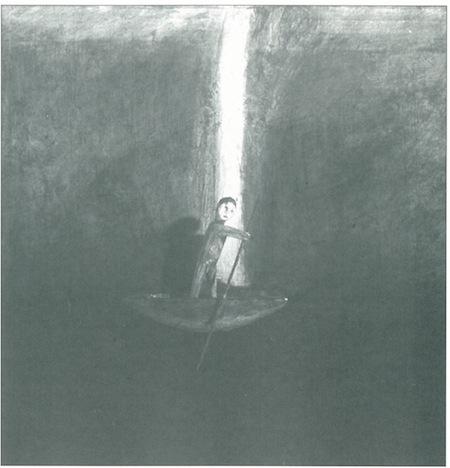"""A Pillar of Cloud by Day,"" by Gloria Ortiz Hernandez, mixed media on masonite, 1996."