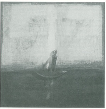 """Crossing Aided by a Pillar of Light,"" by Gloria Ortiz Hernandez, mixed media on masonite, 1996."
