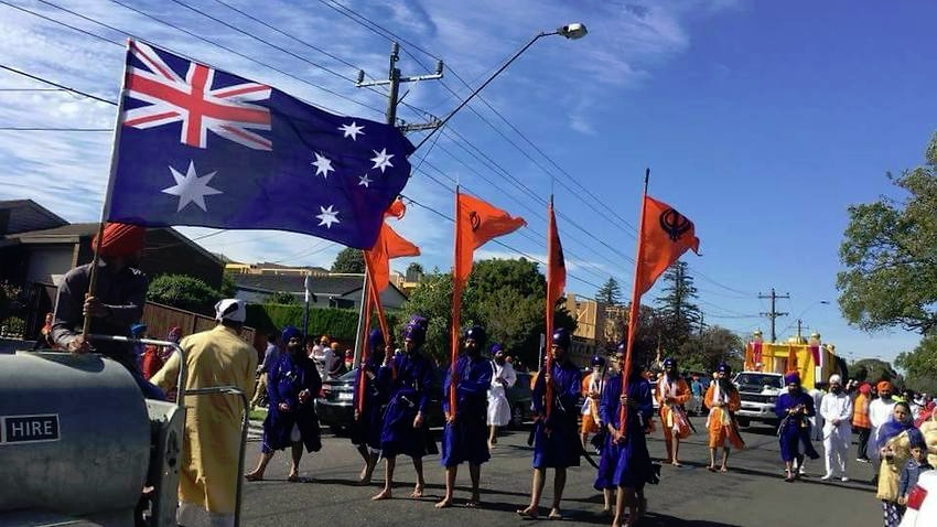 Members of the Sikh community during a religious procession in the south east of Melbourne. Source: SBS Punjabi
