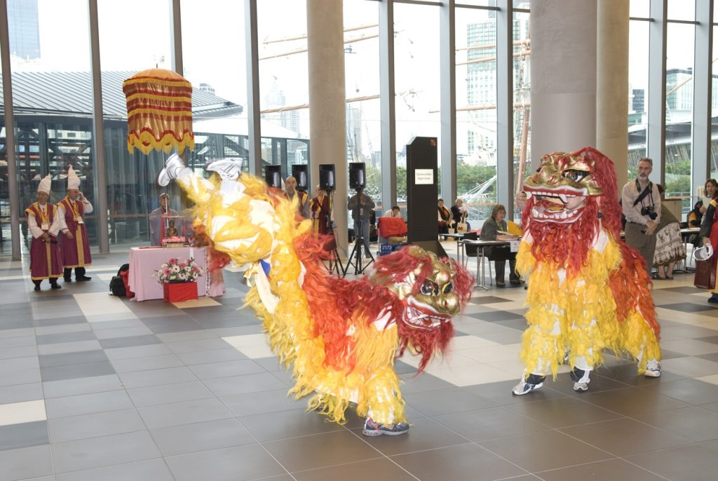 Chinese dragon dance in the forecourt of the Melbourne Exhibition Centre - 2009 Parliament of the World's Religions
