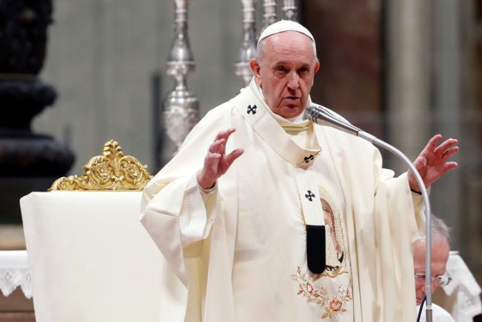 Pope Francis preaching in Rome