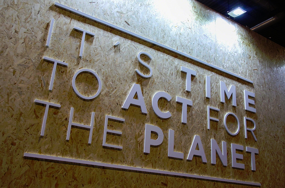 On the penultimate day of COP 25, a sign in the corridors reminds delegates of the urgency of reaching a positive outcome.