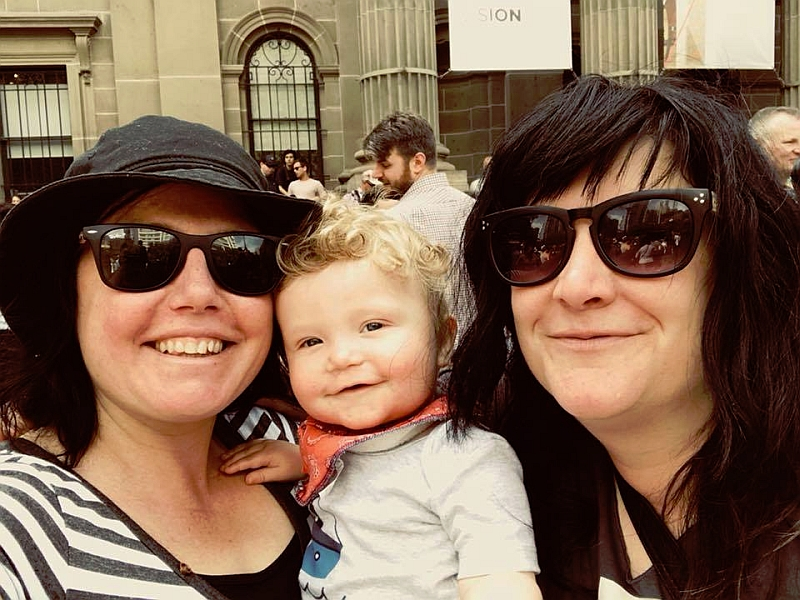 Fiona Newton and partner with son