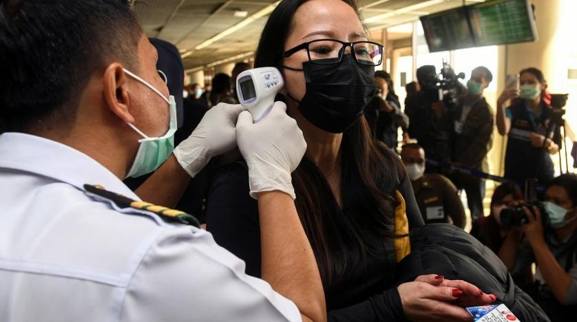 Wearing black face masks; our temperatures were checked at the airport