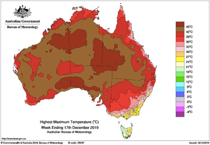 Heat in Australia December 2019
