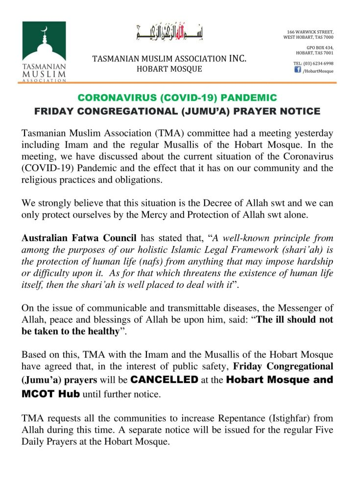 Hobart Mosque Announcement
