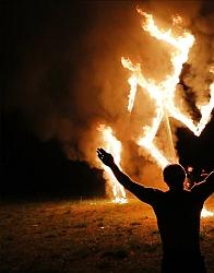 Nazi symbol in flame