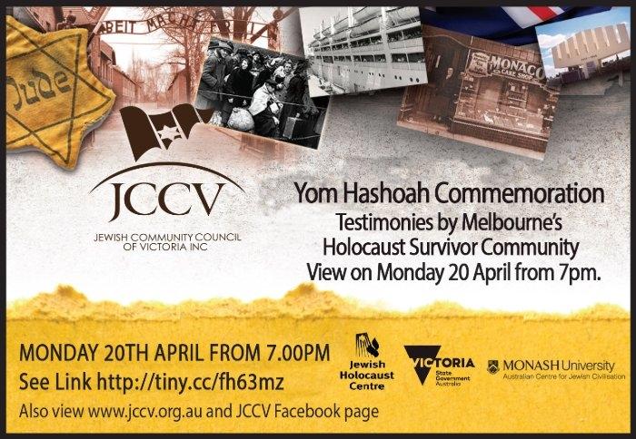 Victoria - Yom HaShoah Observance Online