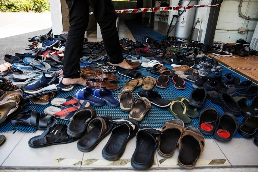 Footwear outside the Darwin masjid