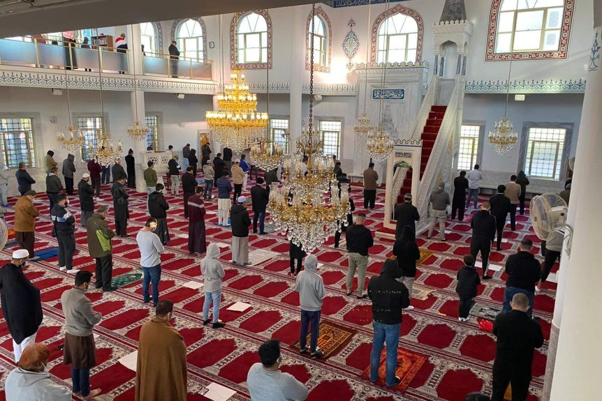Social distancing was observed inside the mosque during prayers.