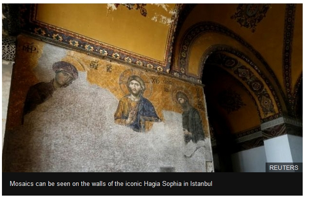 Mosaics can be seen on the walls of the iconic Hagia Sophia in Istanbul