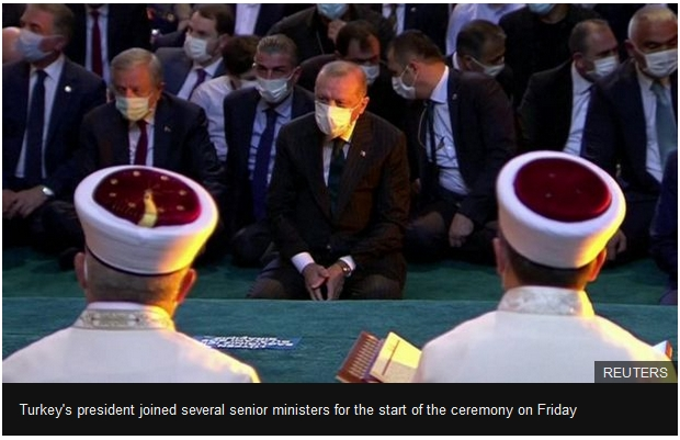 Turkey's president joined several senior ministers for the start of the ceremony on Friday