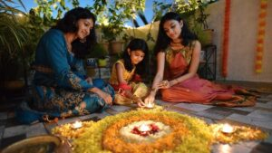 Family and Diwali lamps