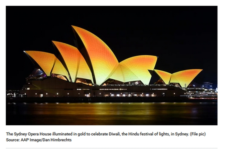 Opera House lit up for Diwali