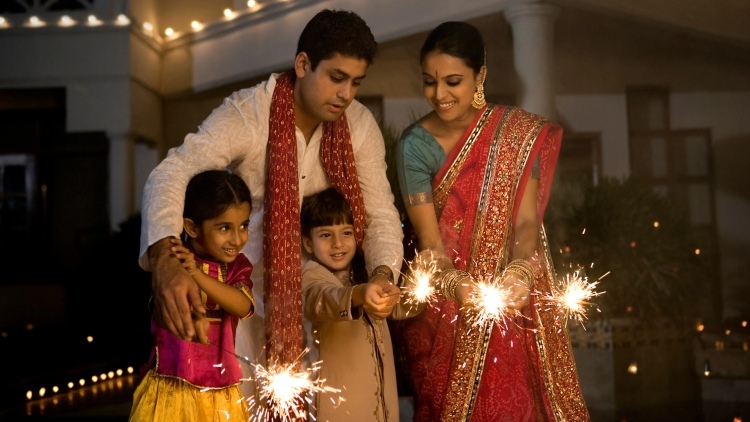 Diwali Indian family