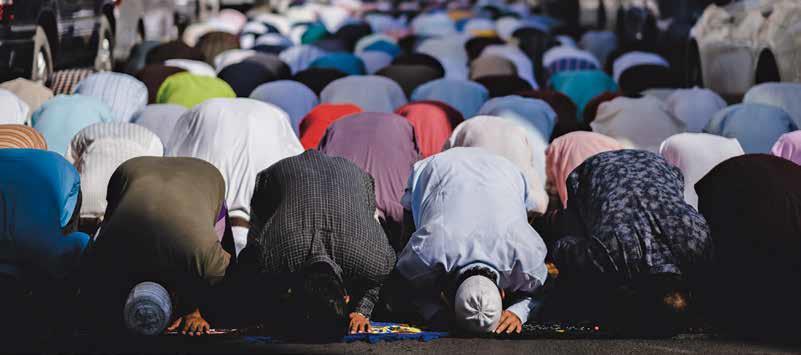 Muslims at prayer,