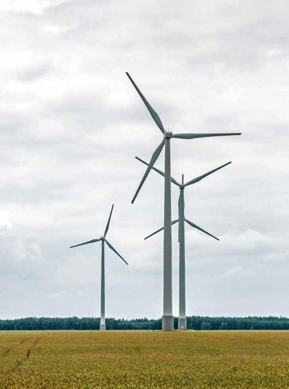Wind turbines near Rothenburg, Germany.